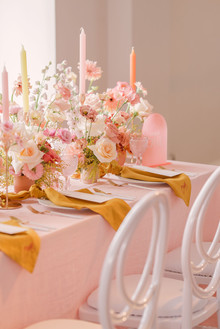mustard and pink table decor