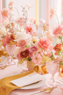 pink and mustard place setting