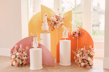 Modern color block wedding cake backdrop