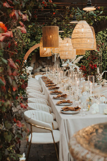 neutral tablescape with lanterns