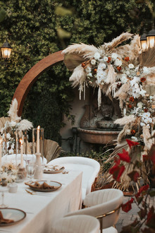 Bohemian pampas grass wedding backdrop