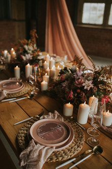 dusty pink place setting