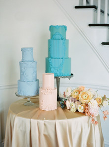 pastel color block wedding cake