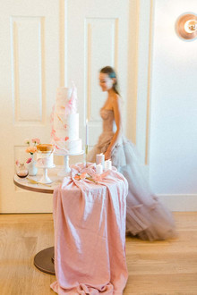 pink wedding dessert table