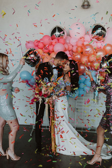 colorful wedding backdrop and confetti