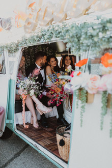 colorful wedding photo booth