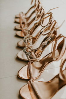 gold bridal and bridesmaid heels