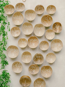 natural escort card idea with Costa Rica calabash tree