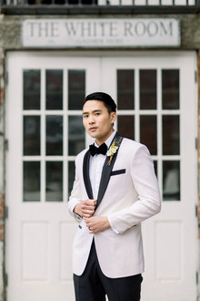 white tux for groom