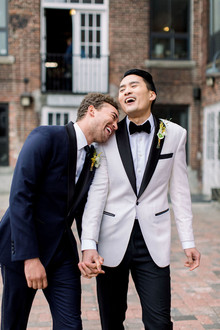 modern black and white gay wedding