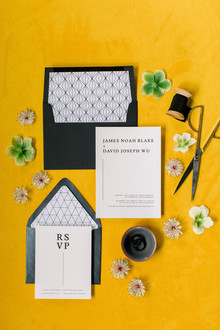 modern black and white wedding stationery