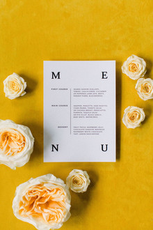 modern menu idea for wedding