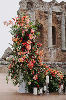 coral charm peonies at Sicily wedding at the ancient Greek theatre of Taormina