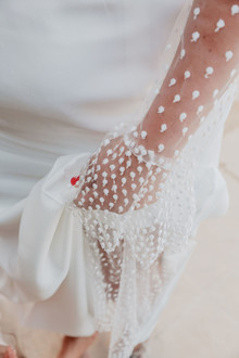 Wedding dress with sheer sleeves