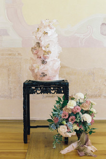gorgeous fine art ruffle wedding cake