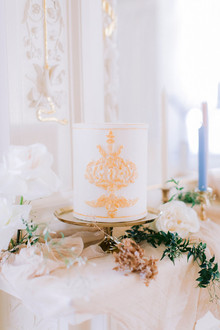 white + gold wedding cake