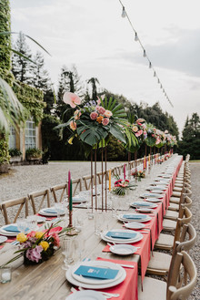colorful tropical tablescape