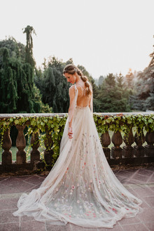 Wedding gown with floral embroidery