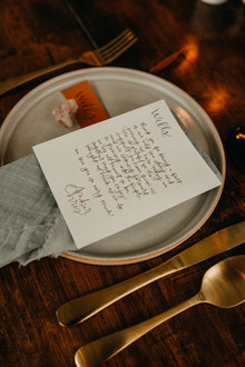 calligraphy at place settings