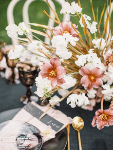 Pink and gold centerpiece