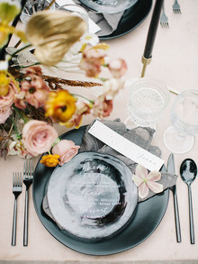 black place setting for wedding