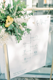 white wedding sign