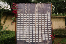 mudcloth seating chart backdrop