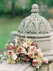 Fall bridal bouquet with roses