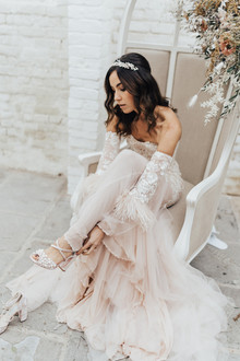 Feathery bridal gown