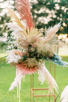 Modern outdoor wedding ceremony decor