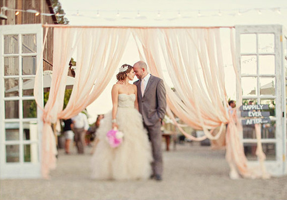 Blush Tulle Ceremony Decor