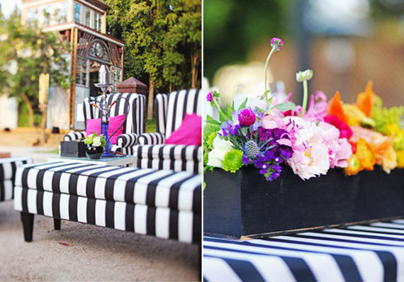 Striped and Multi Colored Reception Decor