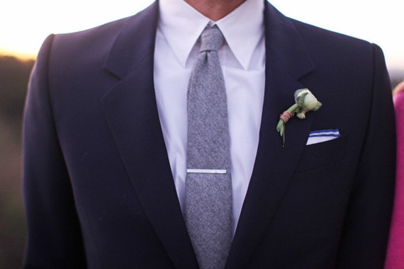 black grooms suit with grey tie