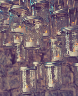 Mason Jar and Tea Light Chandelier