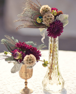 Old world circus purple green floral centerpieces
