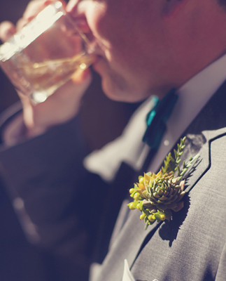 Lake-front grooms' boutonniere detail