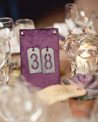 Rustic purple table numbers