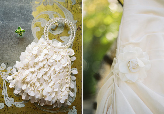 Matching ivory handbag and gown
