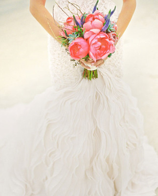 Beautiful lacey flowy dress with pink bouquet