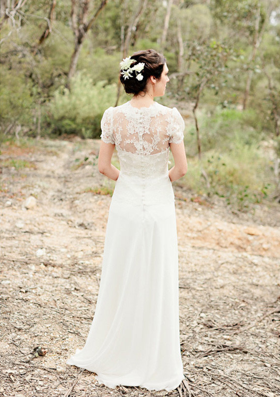 French chantilly lace A-line gown