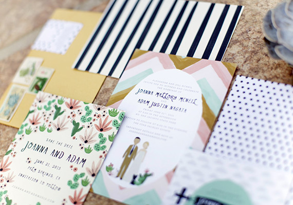 Colorful Palm Springs Wedding Invitation Set
