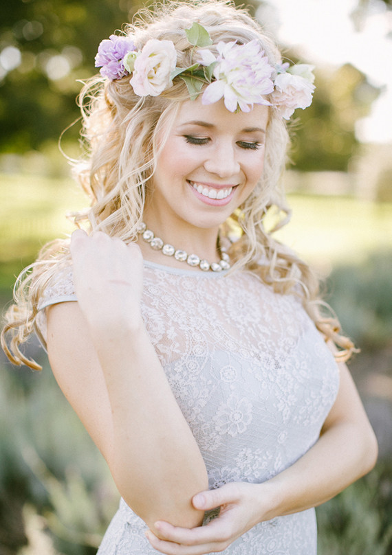 Lavender farm wedding inspired bride with purple flower crown