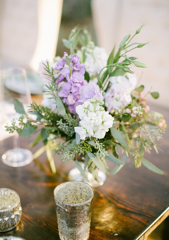 Lavender and white centerpiece