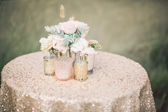 Gold sequin cocktail table