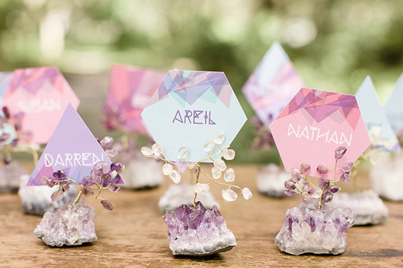 Modern Bohemian Wedding Purple and Blue Escort Cards