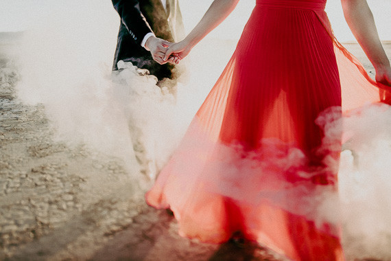 Smoke bomb engagement shoot