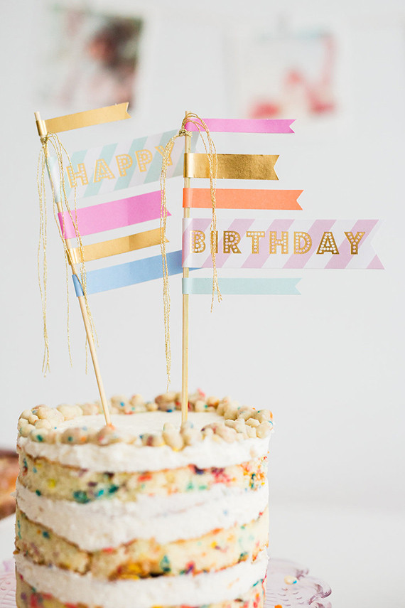 Naked Layer Cake With Washi Tape Flag Topper See More On 100 Layer