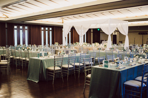 Modern blue and gold wedding reception