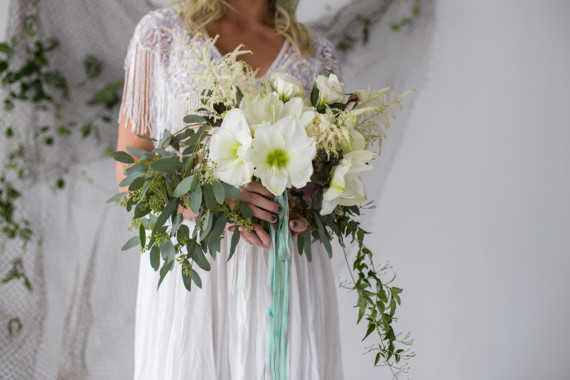 White, green and teal bouquet