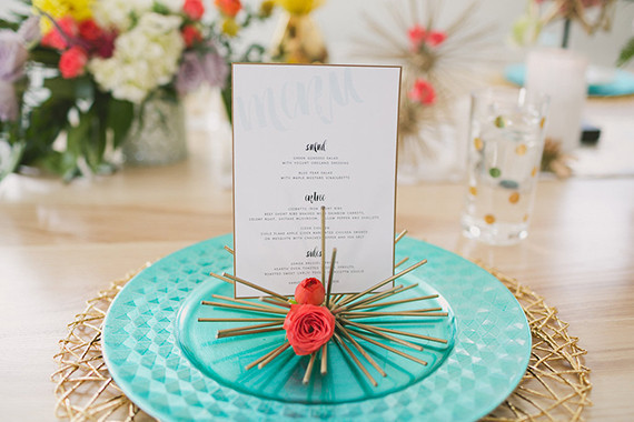 Modern Valentine's Day wedding invitation with teal charger